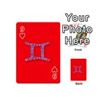 Illustrated Zodiac Red Purple Star Polka Dot Grey Playing Cards 54 (Mini)  Front - Heart9