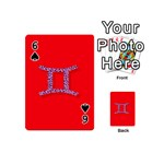 Illustrated Zodiac Red Purple Star Polka Dot Grey Playing Cards 54 (Mini)  Front - Spade6