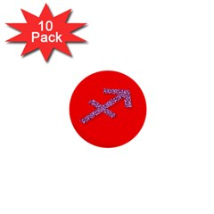 Illustrated Zodiac Star Red Purple 1  Mini Buttons (10 Pack)  by Mariart