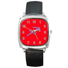 Illustrated Zodiac Star Red Purple Square Metal Watch by Mariart