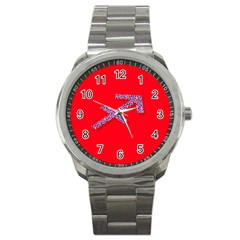 Illustrated Zodiac Star Red Purple Sport Metal Watch by Mariart
