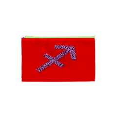 Illustrated Zodiac Star Red Purple Cosmetic Bag (xs) by Mariart