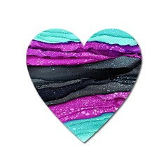 Green Pink Purple Black Stone Heart Magnet by Mariart