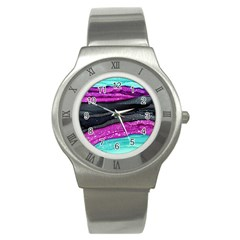 Green Pink Purple Black Stone Stainless Steel Watch by Mariart