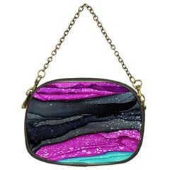 Green Pink Purple Black Stone Chain Purses (two Sides)  by Mariart