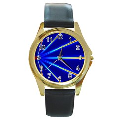 Light Neon Blue Round Gold Metal Watch by Mariart