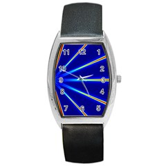 Light Neon Blue Barrel Style Metal Watch by Mariart