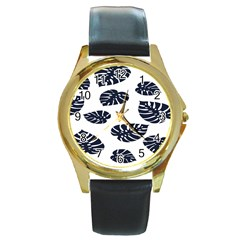 Leaf Summer Tech Round Gold Metal Watch by Mariart