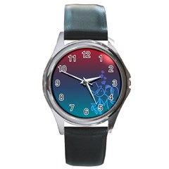 Love Valentine Kiss Purple Red Blue Romantic Round Metal Watch by Mariart