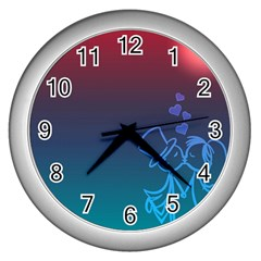 Love Valentine Kiss Purple Red Blue Romantic Wall Clocks (silver)  by Mariart