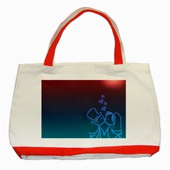 Love Valentine Kiss Purple Red Blue Romantic Classic Tote Bag (red)