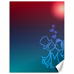 Love Valentine Kiss Purple Red Blue Romantic Canvas 12  X 16   by Mariart