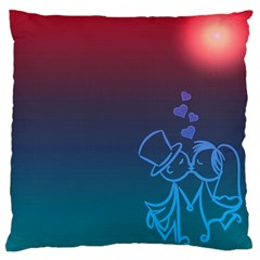 Love Valentine Kiss Purple Red Blue Romantic Standard Flano Cushion Case (two Sides) by Mariart