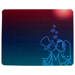 Love Valentine Kiss Purple Red Blue Romantic Jigsaw Puzzle Photo Stand (rectangular) by Mariart