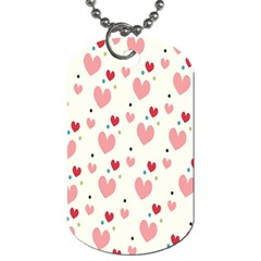 Love Heart Pink Polka Valentine Red Black Green White Dog Tag (one Side) by Mariart