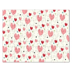 Love Heart Pink Polka Valentine Red Black Green White Rectangular Jigsaw Puzzl by Mariart