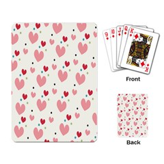 Love Heart Pink Polka Valentine Red Black Green White Playing Card by Mariart