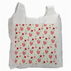 Love Heart Pink Polka Valentine Red Black Green White Recycle Bag (one Side) by Mariart