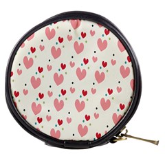 Love Heart Pink Polka Valentine Red Black Green White Mini Makeup Bags by Mariart