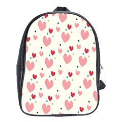 Love Heart Pink Polka Valentine Red Black Green White School Bags(large)