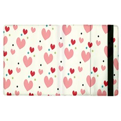 Love Heart Pink Polka Valentine Red Black Green White Apple Ipad 3/4 Flip Case by Mariart