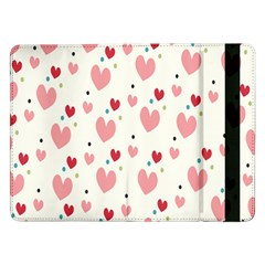 Love Heart Pink Polka Valentine Red Black Green White Samsung Galaxy Tab Pro 12 2  Flip Case by Mariart