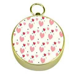 Love Heart Pink Polka Valentine Red Black Green White Gold Compasses by Mariart