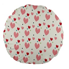 Love Heart Pink Polka Valentine Red Black Green White Large 18  Premium Flano Round Cushions by Mariart