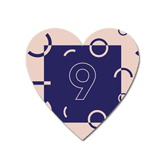 Number 9 Blue Pink Circle Polka Heart Magnet by Mariart