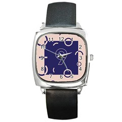 Number 9 Blue Pink Circle Polka Square Metal Watch by Mariart