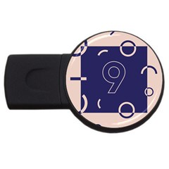Number 9 Blue Pink Circle Polka Usb Flash Drive Round (4 Gb) by Mariart
