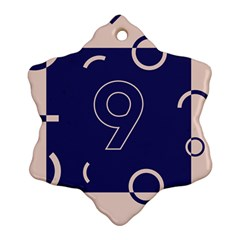 Number 9 Blue Pink Circle Polka Snowflake Ornament (two Sides) by Mariart