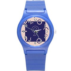 Number 9 Blue Pink Circle Polka Round Plastic Sport Watch (s) by Mariart