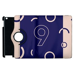 Number 9 Blue Pink Circle Polka Apple Ipad 3/4 Flip 360 Case by Mariart