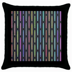 Pencil Stationery Rainbow Vertical Color Throw Pillow Case (black) by Mariart