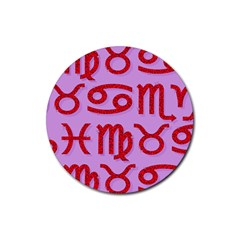Illustrated Zodiac Red Purple Star Rubber Coaster (round)  by Mariart