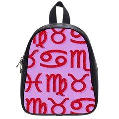 Illustrated Zodiac Red Purple Star School Bags (small)  by Mariart