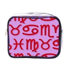 Illustrated Zodiac Red Purple Star Mini Toiletries Bags by Mariart