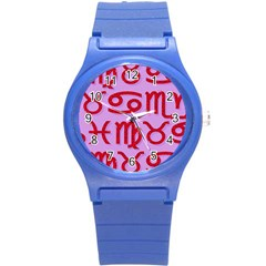 Illustrated Zodiac Red Purple Star Round Plastic Sport Watch (s) by Mariart