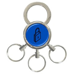 Padlock Love Blue Key 3 Ring Key Chains by Mariart