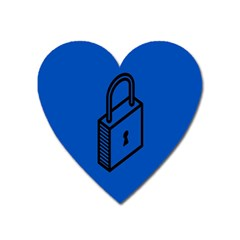 Padlock Love Blue Key Heart Magnet by Mariart