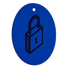 Padlock Love Blue Key Oval Ornament (two Sides) by Mariart