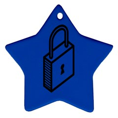 Padlock Love Blue Key Star Ornament (two Sides) by Mariart