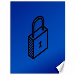 Padlock Love Blue Key Canvas 36  X 48   by Mariart