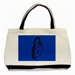 Padlock Love Blue Key Basic Tote Bag (two Sides) by Mariart