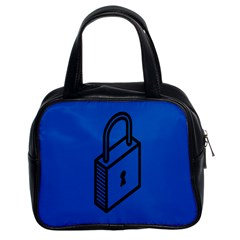 Padlock Love Blue Key Classic Handbags (2 Sides) by Mariart