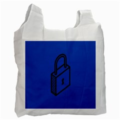 Padlock Love Blue Key Recycle Bag (one Side) by Mariart