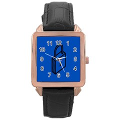 Padlock Love Blue Key Rose Gold Leather Watch  by Mariart
