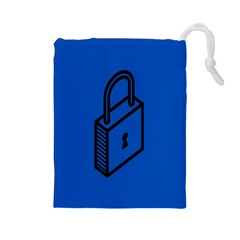 Padlock Love Blue Key Drawstring Pouches (large)  by Mariart
