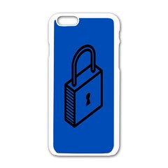 Padlock Love Blue Key Apple Iphone 6/6s White Enamel Case by Mariart